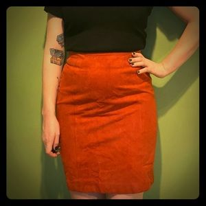 Orange suede pencil skirt